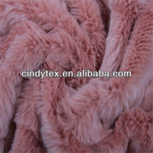 18mm plushed short hair foiled cutted pink faux fur fabric