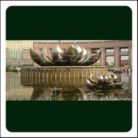 Stainless Steel Lotus Fountain Flower Sculpture