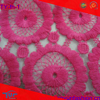 pink flower embroidery organza lace fabric