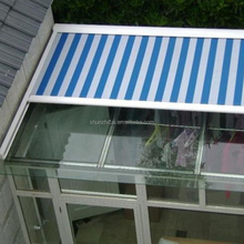 electric retractable skylight awning, remote control arc,flat roof awning for sunroom