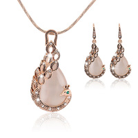 New Arrival Crystal Bridal Jewelry Sets Gold Color Teardrop opal peacock necklace Earrings set Wedding Jewelry set for Women