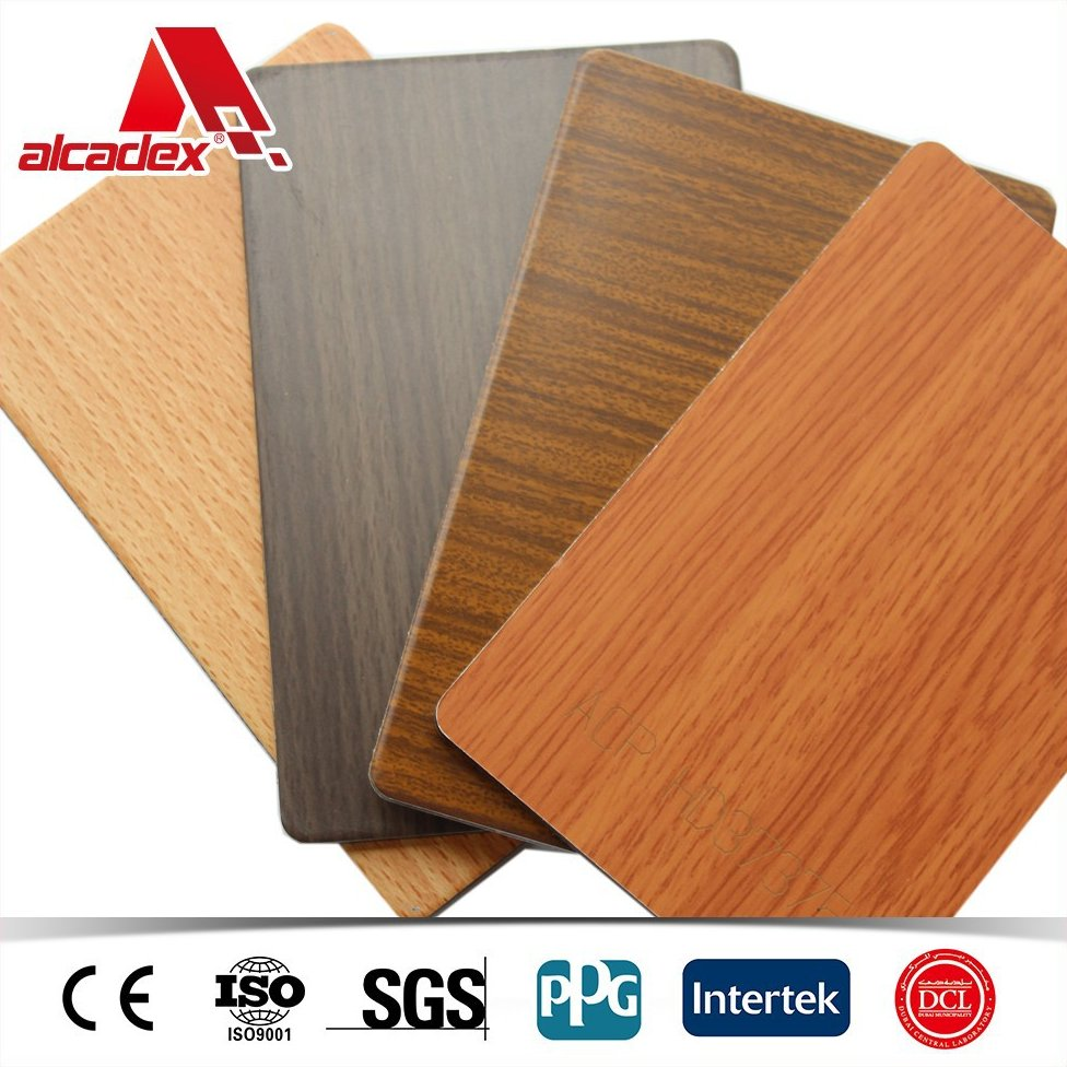 4mm PVDF coating house outdoor wall cladding, wood finish aluminum sandwich panels,