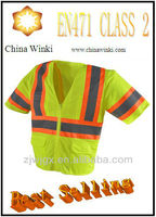 America 3M Short Sleeves Professiona Mesh Hi-vis Fluorescent Lime Construction Work Shirt With Phone Pockets