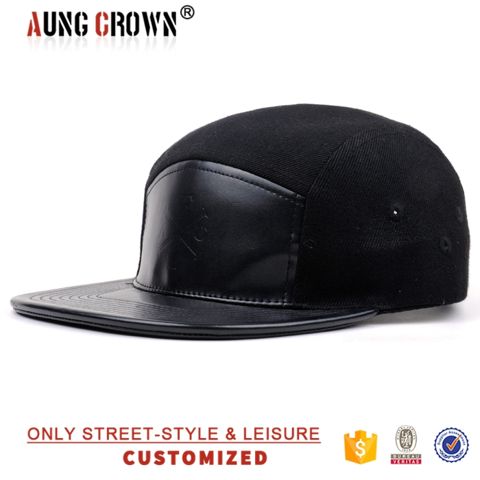 Wholesale 5 Panel Cap Leather Front and Brim,Cheap Blank Black Snapback