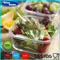 Heat-resistant Glass Food Container Square Shape With Plastic Lid