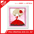 cute little princess with red dress 5D DIY diamond drill cross stitch 2.8mm resin diamond for home Decor