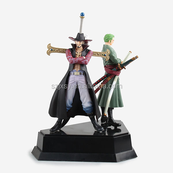 one piece Two-person combination eagle eye Mihawk and zoro three-knife fighting posture stand figure hand craft for birthday