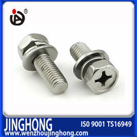 High quality low price cross recessed combination hex bolt with washers