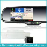 Car Rear View Mirror with Dashcam and Wire Parking Camera with 4.3 Inch Screen, GPS and Bluetooth