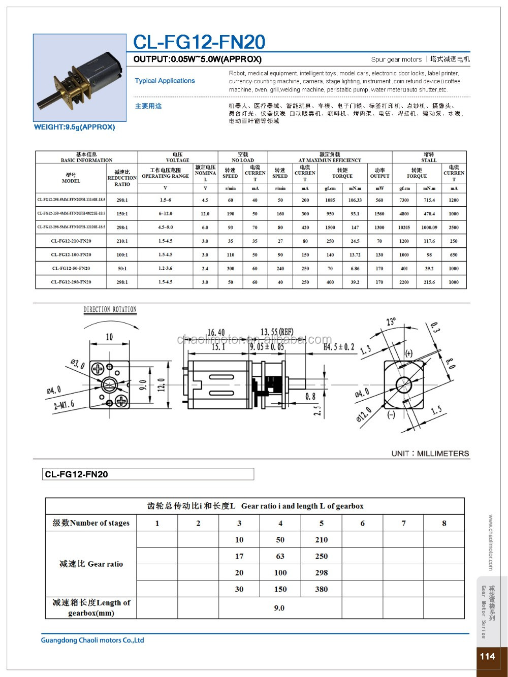 China 12mm spur geared motor CL-FG12-FN20 with 12*10 metal gearbox for electronic door lock and robot-chaoli2016