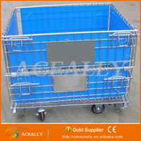 Warehouse steel box pallet stackable container/simple design metal cage
