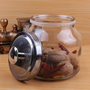 wholesale glass cookie storage jar glass candy jar with metal lid
