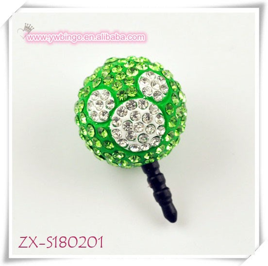 Hot Selling Animal Head Dust Cap Headset Jack Plug With Crystal For Iphones earphone jack dust cap plug ZX-S180201