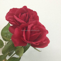wedding decoration artificial real touch single big red fabric flower rose Christmas decoration