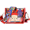 Women Graffiti Transparent J Messenger PVC Bags Fashion Colorful Strap PVC Women Shoulder Crossbody Leather Bag