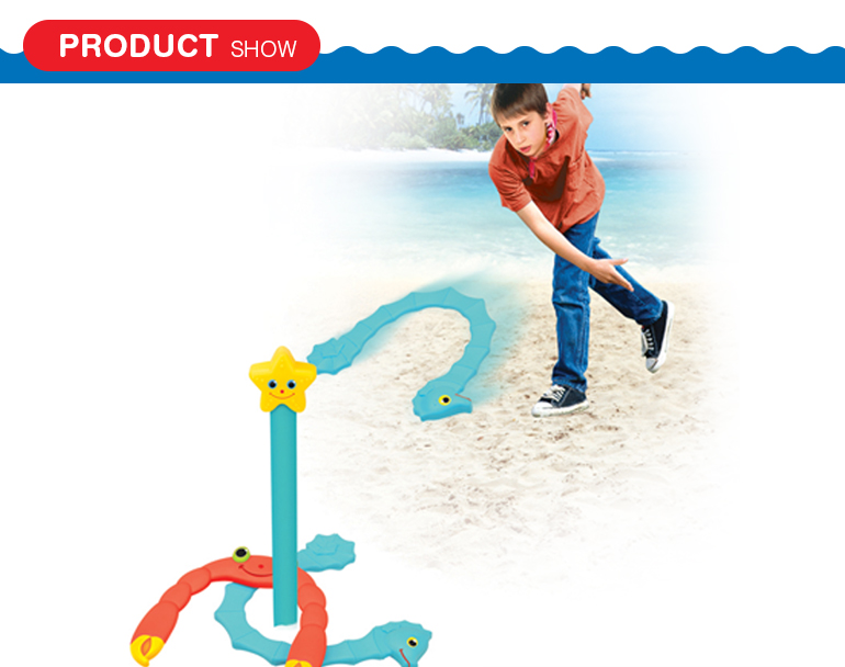 Custom kids outdoor beach funny plastic sport toy horseshoe game with sea life styling