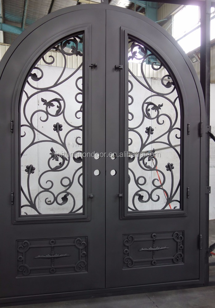 wrought iron <strong>door</strong> with double panel rain glass made of warm spacer