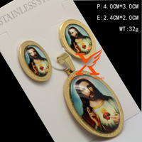 In Stock Wholesale Fashion Stainless Steel Gold Plated Jesus Jewelry Set Earrings And Pendant Jewelry Sets