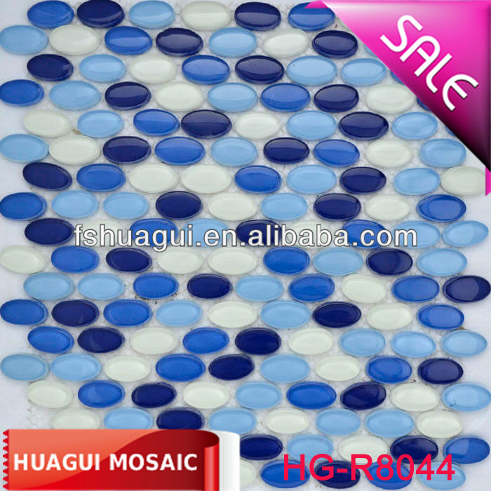 Swimming pool blue glossy round crystal glass mosaic tile