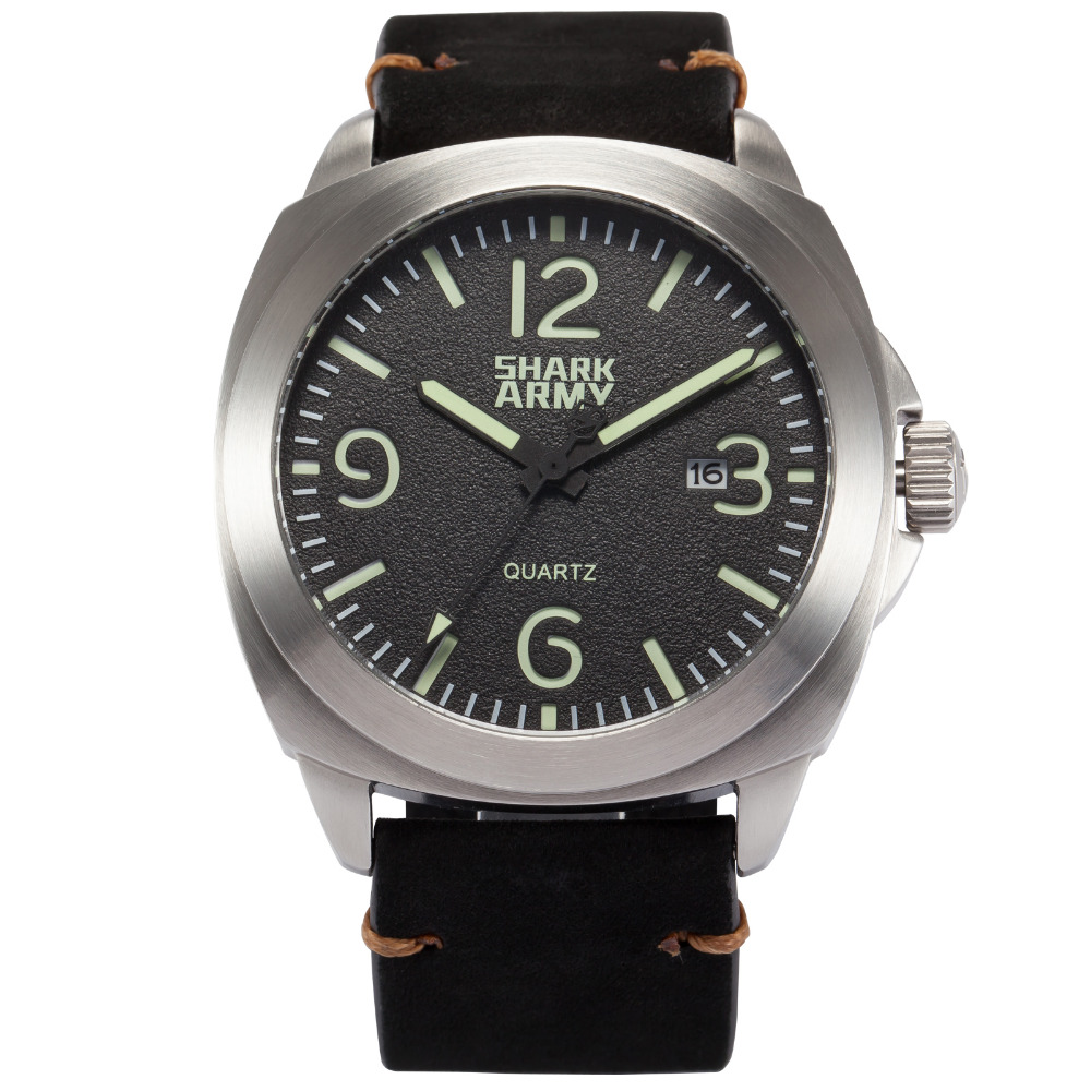 Stainless Steel SHARK Army Black Leather Men Sport Watch 100M Water Resistant