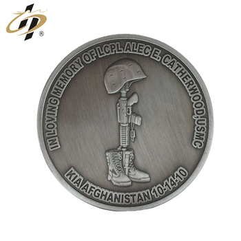 Antique silver zinc alloy custom 3D military metal challenge coins