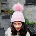 CX-C-11B China Supplier Wholesale Knitted Fur Lady Winter Hat Big Fur Ball On Top