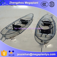 new canadian plastic transparent canoe kayak with double seats for sale