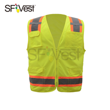 hotsale reflective safety clothing for men airport traffic work mesh vest high visibility security waistcoat with multi pockets