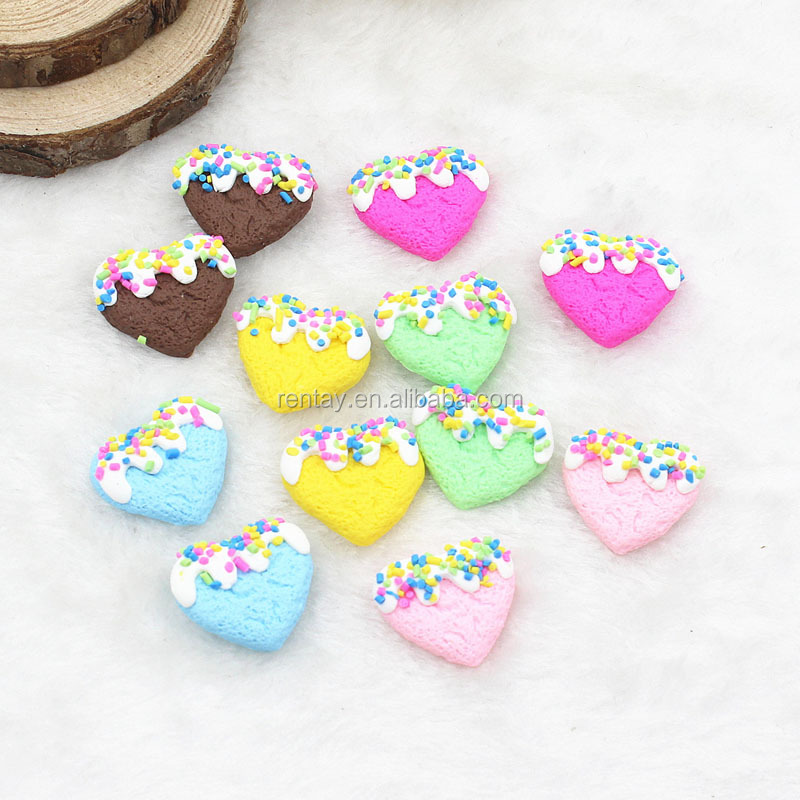 21*19mm Mixed Color Polymer Clay Heart Shaped Sprinkle Biscuit Kawaii Cabochons Wholesale