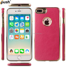 Stick PU leather electroplate design soft TPU cover protector back case for iphone7 plus
