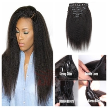 Cheap 100% peruvian human hair clip in hair extensions for african american afro kinky straight clip in hair extensions