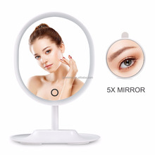 Touch Screen Adjustable Brightness LED Lighted desktop Makeup Mirror with Detachable 5X Magnifying Mirror