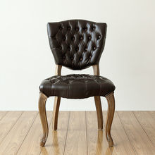 Tufted Button European Antique Design Upholstered Wooden Chair