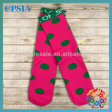 2014 Newest Wholesale Soft Touch Green Polka Dot Long Baby Girl Socks Baby Tube Sock Many Designs For Choose