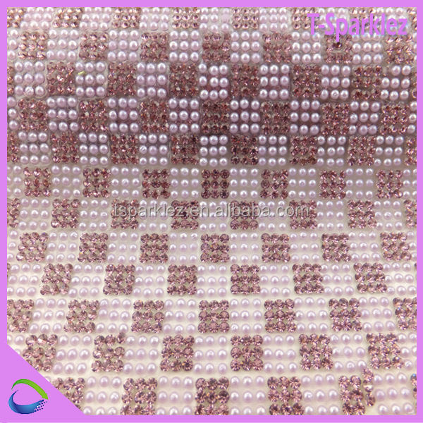 2016 new arrival pearl and rhinestone mesh trimming for garment