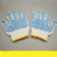 New Products Cotton Knitted Beached White PVC Dotted Safety Working Gloves