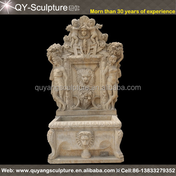 Outdoor Wall Decor Stone Lion Head Wall Water Fountain