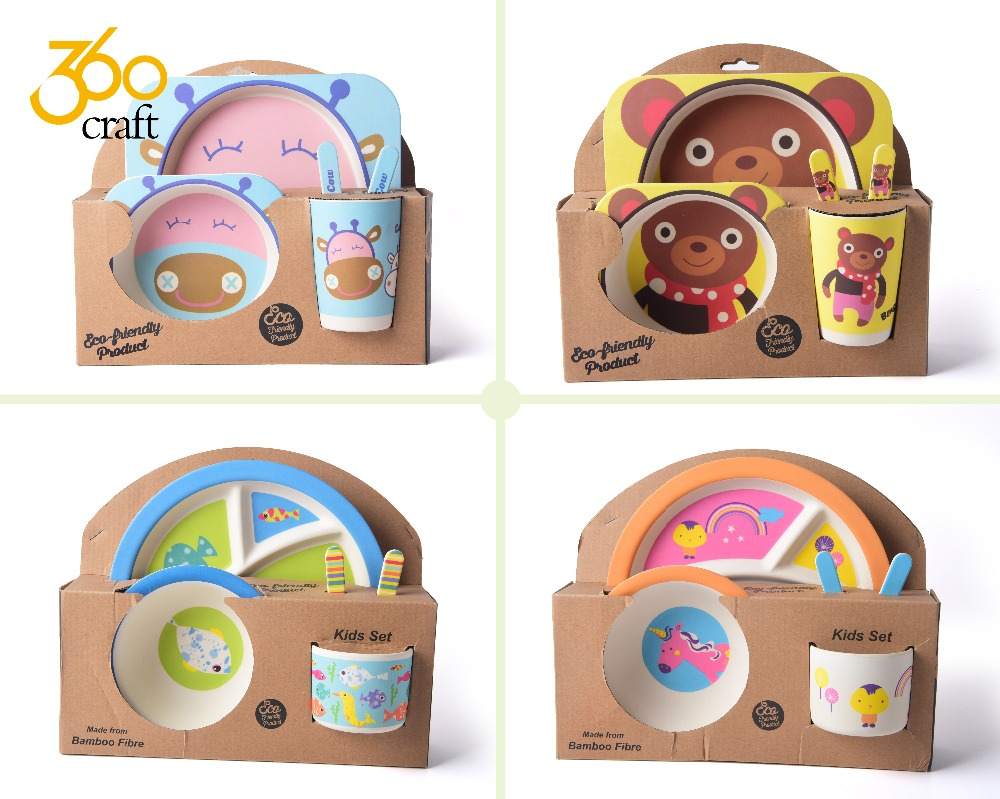 Factory outlets baby bamboo kids dinnerware plate bio bamboo fiber dinner set for kids