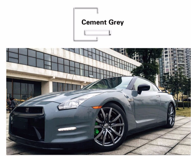 Hot Selling 1.52*18m High Glossy Cement Grey Car Vinyl Wrap