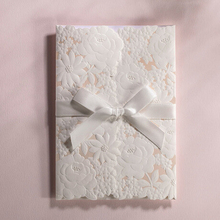 Online Shop China Luxury Wedding Invitation Card With White Lace Bow