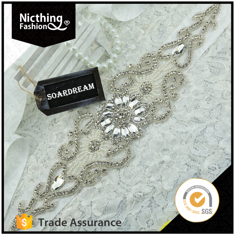 Newest fahsion design high quality product wedding belt applique NRA122