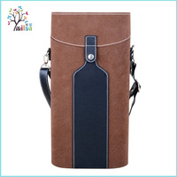 Customize pu leather empty wooden individual cheap wine box wholesale