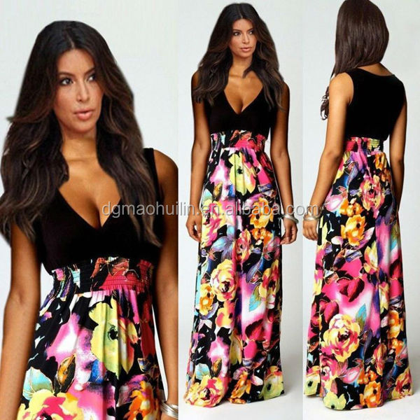 plus size bohemian maxi dresses long women lady muslim fashion floral print maxi dress