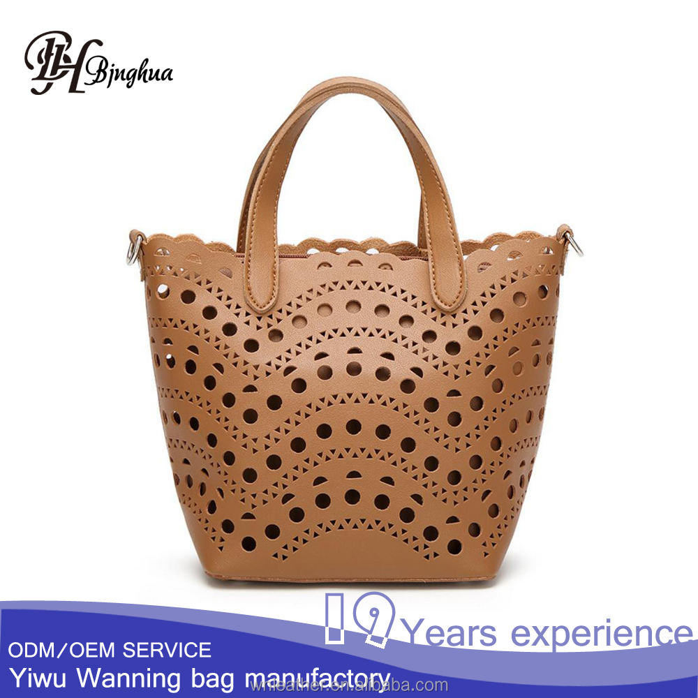 AL-163 Practical Hollow out <strong>design</strong> 2 in 1 tote bag and Clutch bag set dropshipping