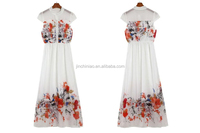 women fashion long printed chiffon dress with knitted fabric lining