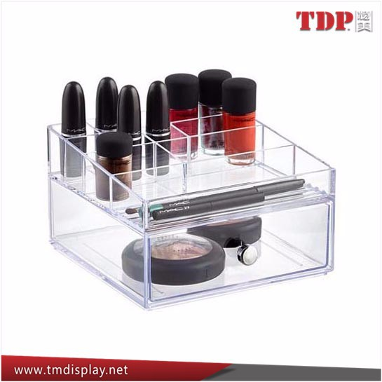 2 set clear lucite makeup cosmetic display case