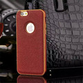 High Quality Aluminum Metal Bumper Frame + PU Leather Pattern Mobile Phone Cover Case For Apple iPhone 5/6/6 Plus