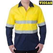 Hi Vis Two Tone Long Sleeve Reflective Safety Work Shirt