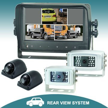 7 inches quad car rear view camera kit system with touch button monitor