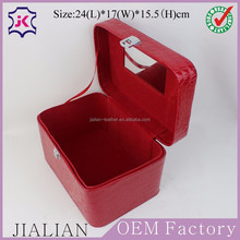 Factory Custom High Quality Red Crocodile Leather Makeup Train Case with Mirror and Leather Handle
